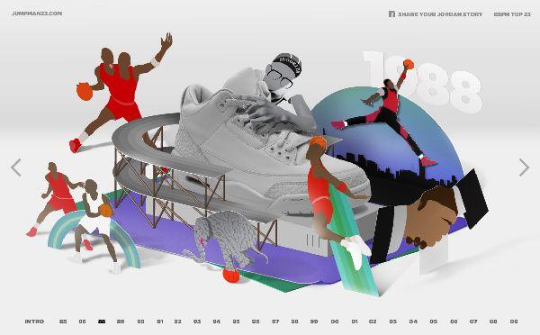 Webサイト かっこいい!とてもクリエイティブで素敵なサイト「Jordan : History of Flight」