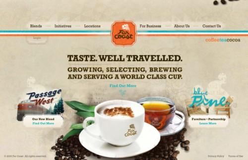 わず「ホッ」とする。茶色ベースで素敵にデザインされたコーヒーショップのウェブサイト